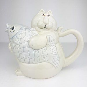 Fitz And Floyd FF Cat Holding Fish Cat Nap Teapot